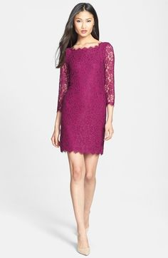 Free shipping and returns on Diane von Furstenberg 'Zarita' Lace Sheath Dress at Nordstrom.com. Romantic lace covers a fitted sheath dress outlined in scalloped eyelash fringe. Sheer three-quarter sleeves and a two-way back-zip closure add graceful details to the design.