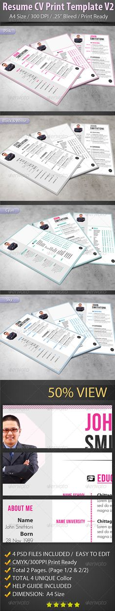 Clean Modern Resume V1 Modern resume, Simple resume template and - print resume