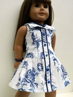 American Girl Doll Clothes - Blue and White Cotton Toile Yacht Club Dress with matching shoes, necklace and bracelet on Etsy, $50.00
