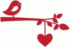 Silhouette Design Store - View Design #74007: bird branch w/heart string