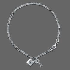 Sterling Silver Anklet Ankle Bracelet with Lock