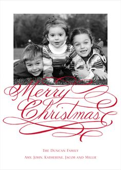 Merry Christmas Script Flat Photo Cards