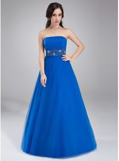 A-Line/Princess Strapless Floor-Length Tulle Prom Dress With Ruffle Beading (018002491)