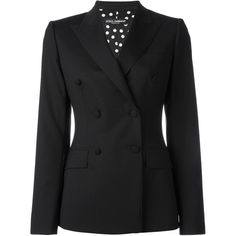 Dolce & Gabbana double breasted blazer (8.435 BRL) ❤ liked on Polyvore featuring outerwear, jackets, blazers, black, blazer jacket, long sleeve jacket, long sleeve blazer, double-breasted jacket and double breasted blazer
