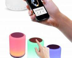 LED Stolová lampa s bluetooth reproduktorom, dotykové ovládanie, červená farba1