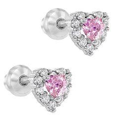 925 Sterling Silver Pink Clear CZ Heart Screw Back Baby Girl Earrings Infants Baby Girl Earrings, Girls Earrings, Dermal Jewelry, Jewelry Box, Women Jewelry, Sensitive Ears, Screw Back Earrings, Infants, Heart Ring