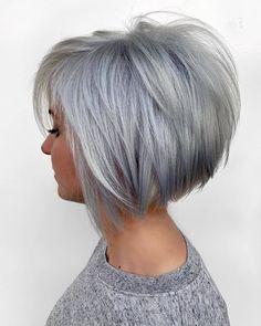 Short Grey Hair, Short Hair With Layers, Short Hair Cuts For Women, Short Hairstyles For Women, Short Hair Styles, Cool Hairstyles, Stacked Bob Hairstyles, Short Stacked Bob Haircuts, Short Bob Cuts
