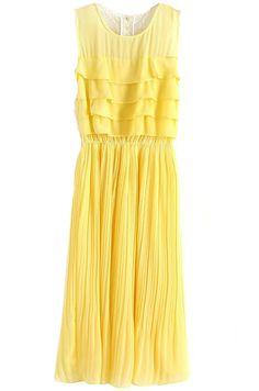 Yellow Sleeveless Ruffles Lace Back Pleated Maxi Dress