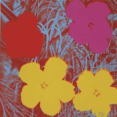 Andy Warhol - Flowers, 1970 (1 red, 1 pink, 2 yellow)