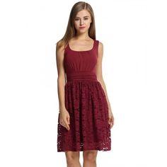 Women Sleeveless Patchwork Sundress Floral Hollow High Waist Slim Pleated Dress