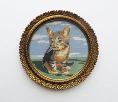 70s Needlepoint Cat with Frame Calico Cat by almondtreevintage