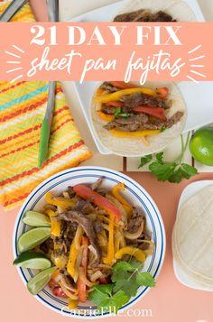 21 Day Fix Sheet Pan Fajitas - Carrie Elle Fixate Recipes, Cooking Recipes, Healthy Recipes, Healthy Dishes, Healthy Options, Healthy Meals, Yummy Recipes, Healthy Food, Recipies