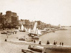 Sussex, Brighton Beach Scene with Sailing Boats circa 1890's from a website ENTIRELY devoted to old photos of England!  Awesome!