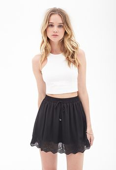 FOREVER 21 Embroidered Scallop Skirt
