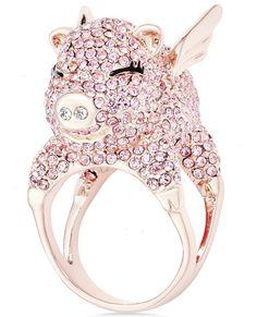 kate spade new york Wild Imagination Gold-Tone Crystal Flying Pig Ring