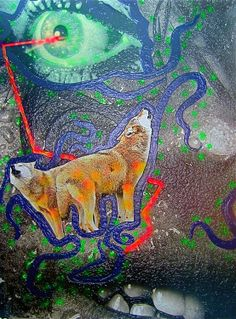 Title: We see the opera songs wolves Date: 2007 Technique: Acrylic, print, banner Size of work: 200 x 150 cm  Price: 5.800 USD