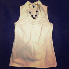 Ann Taylor Top White sleeveless ruffle collar blouse. Great for work. $30 OBO Ann Taylor Tops