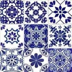 Tile Stickers for Kitchen Bath or Floor Waterproof ChinaBlue Kitchen Backsplash Ideas Bath ChinaBlue floor kitchen Stickers Tile Waterproof Tile Decals, Vinyl Decals, Tile Art, Wall Tiles, Bad Wand, Tuile, Tile Patterns, Home Decor Trends, Tile Design