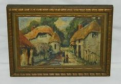 "GLENN F. BASTIAN American Listed Artist ENGLISH COTTAGES Miniature OIL PAINTING Overall size 7"" X 5"". Oil Painting on Board, circa 1934. It is in excellent condition with a wonderful street scene of a row of English Cottages and a Lady and little girl are walking along the street. Housed in its original antique frame in great condition!  I do not see a signature on the painting, could be under the edge of the frame. label on the reverse identifying artist and title of the piece. SOLD US $74...."
