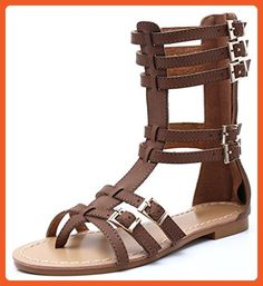 0f814a91c13c0 CAMSSOO Women s Gladiator Thong Strappy Flat Sandals Adjustable Buckle  Brown Soft PU 8 US M -