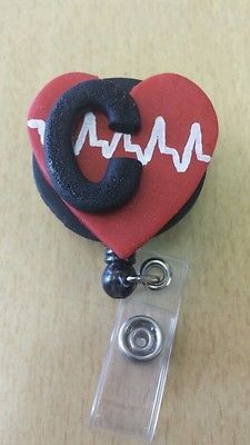 """C"" Monogram Nurse/ RN/ Nurse Practitioner/Cardiac Care/ER Nurse ID Badge Reels"