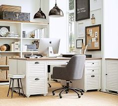 Whitney Rectangular Desk Set, 1 Desktop& 2 File Cabinet, Almond White with Honey stain - Home Office Furniture - Pottery Barn Windows Phone, Home Office Desks, Office Decor, Office Ideas, Home Office Furniture Ideas, Kitchen Furniture, Furniture Decor, Ikea Office, Office Nook
