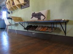 Shoe rack and floating desk/bench Shoe Storage Hacks, Shoe Storage Solutions, Storage Ideas, Garage Storage, Floating Wall Desk, Floating Shelves, Shoe Rack Bench, Shoe Racks, Shoe Holders