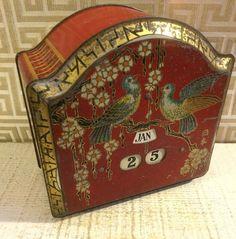 Bassett Vintage Confection Tin Box Calendar Asian Theme Red English c1920s