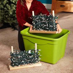 Make Holiday Light Storage Stands - Storing holiday light strings without wrecking them is tough. Here's a great idea: Just screw a dowel to each end of a wooden base cut to the size of a large plastic bin. Then wrap your lights around the dowels in a figure eight and place the stand in the bin. You'll be amazed how many light strings you can wrap around the stands without them getting tangled or damaged.