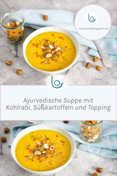 Recipe: Ayurvedic soup with kohlrabi, sweet potatoes and topping ULoop magazine - Cooked vegetables, ghee, spices and light and nutritious ingredients are the basis of an Ayurvedic - Detox Recipes, Gourmet Recipes, Vegetarian Recipes, Healthy Recipes, Vegetarian Sweets, Sweets Recipes, Vegetable Soup Healthy, Healthy Soup, Potato Recipes