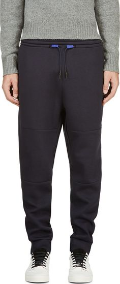 T by Alexander Wang: Navy Double Knit Scuba Lounge pants | SSENSE