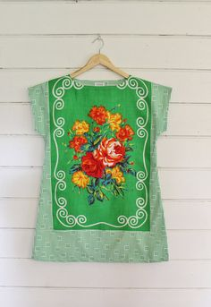 Upcycled Linen Tea Towel Tunic Women Green White Red Roses Shabby Floral Swirly Retro Medium Cotton Australian Made