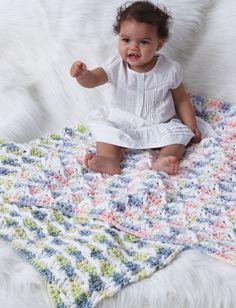Yarnspirations.com - Bernat Textured Stripes Baby Blanket - Patterns  | Yarnspirations - (Pattern Downloaded - SLT)