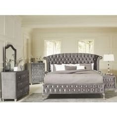 This fully upholstered Deanna Bedroom Set by Coaster Furniture will instantly transform any bedroom into an instant fantasy getaway. The group features properly tufted upholstered bed and matching pieces, faceted buttons in a special opalescent grey spark Bedroom Dresser Sets, Master Bedroom Set, King Size Bedroom Sets, Bedroom Furniture Sets, Home Furniture, Bedroom Decor, Coaster Furniture, Gray Bedroom, Queen Bedroom