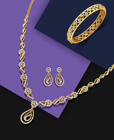 Looking for something that adds sparkle to a solid colored outfit? This yellow gold and diamond set with a bangle to match will be your perfect pick. Gold Initial Pendant, Initial Necklace Gold, Gold Pendants, Letter Pendants, Diamond Necklace Set, Danty Necklace, Diamond Choker, Cluster Necklace, Wedding Jewelry Sets
