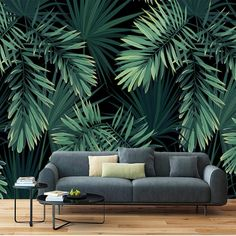 Southeast Asia Tropical Rainforest Banana Green Leaves Wallpaper Restaurant Living Room Cafe Office Bedroom Mural Home Wall Art Materials; Peel and Stick Vinyl or Non-Woven Embossed removable Wallpaper FEATURES: Wallpaper; Painting Wallpaper, Print Wallpaper, Home Wallpaper, Wallpaper Murals, Green Leaf Wallpaper, Tropical Wallpaper, Leaves Wallpaper, Bedroom Murals, Living Room Bedroom