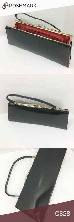Elegant Evening Bag Black Oversized Vintage In great condition. Some wear and fading is apparent on the metal but nothing remarkable. Inside lining is in great shape - no rips or holes. Outside  is also in excellent shape - some wear but very minimal. Inside zipper in tact and working.  Gold plated metal trim and clasp. Beautiful vibrant red interior lining. Outside material looks like leather but I don't think it is. Most likely a vinyl. JR logo stamped on the inside but quite faded. Easily… Metal Trim, Red Interiors, Logo Stamp, Evening Bags, Jr, Zip Around Wallet, Minimal, Vibrant, Shape