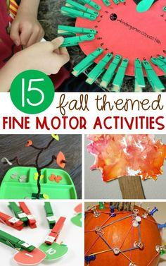 Festive and Fun Fall Fine Motor Activities For Kids Boost children's pre-writing skills and let them learn hands-on at the same time with these fun fall themed fine motor activities! Toddler Fine Motor Activities, Fall Preschool Activities, Apple Activities, Motor Skills Activities, Preschool Kindergarten, Preschool Curriculum, Literacy Activities, Toddler Preschool, Preschool Crafts