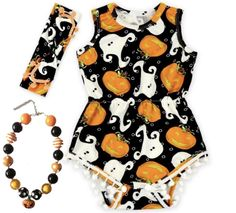 Baby Girl Halloween Outfit Pumpkin and Ghost Romper Set
