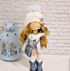 Купить Интерьерная куколка Модница с собачкой - голубой, интерьерная кукла, кукла ручной работы