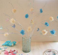 rama pintada con pompones y mariposas en tonos azules y crema http://www.papermoonandco.com/