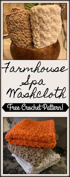 Beginner friendly free crochet pattern for thick, farmhouse spa washcloth
