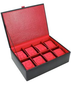 Leather Watch Box, Black Leather Watch, Red Fabric, Watches, Interior, Jewelry, Design, Jewlery, Red Weave