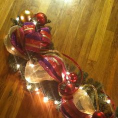 #Lighted #Christmas #garland using deco mesh and deco #flex #tubing #ribbon