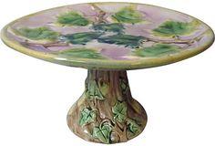 Majolica Grape Leaves Pedestal Dish on OneKingsLane.com