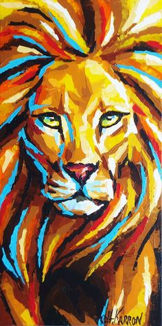 """Lion"" acrylic on canvas, 10x20 inches, sold"