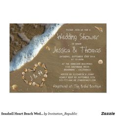 Seashell Heart Beach Wedding Shower Invitations
