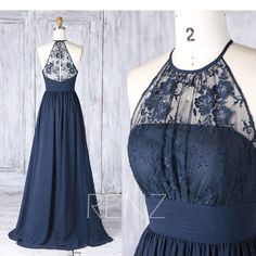 Bridesmaid Dress Navy Chiffon Illusion Lace Wedding