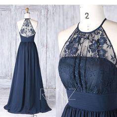 Bridesmaid Dress Navy Chiffon Illusion Lace Wedding