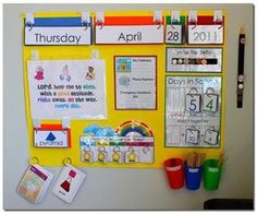 Love how this calender idea works on months, days of the week, shapes, weather, money, and place value all in one place!